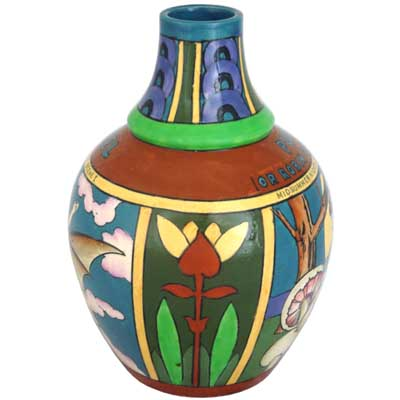 A Midsummer Nights Dream Foley Intarsio vase by Frederick Rhead (gm205)