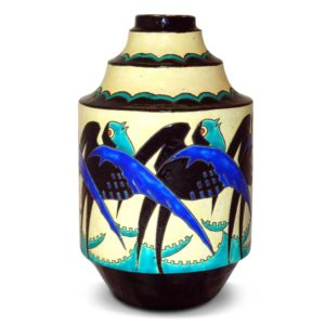 Art Deco Keramis pottery vase with swallows by Charles Catteau for Boch Freres (gm494)