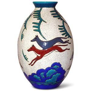 Art Deco Keramis pottery vase with with dogs and leaping deer by Charles Catteau for Boch Freres (gm495)