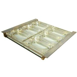 Art Deco Modernist nickel plate and crystal hors d oevres tray attributed to Jacques Adnet (m497)