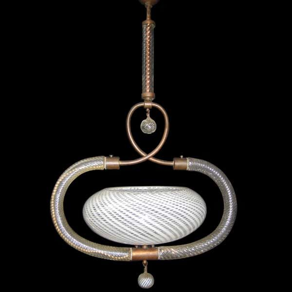 Art Deco Murano glass and brass ceiling light by Barovier