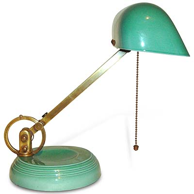 Art Deco Wedgwood pottery and brass articulated lamp (gm532)