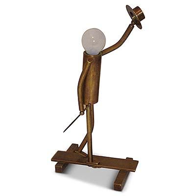 Art Deco brass table lamp in the form of man with hat and cane (gm370)