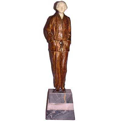 Art Deco bronze and ivory by Georges Rigot