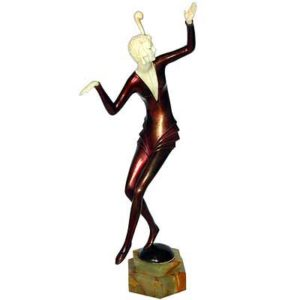 Art Deco bronze and ivory dancer by Hans Harders