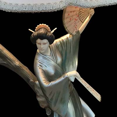 Art Deco bronze and ivory figural lamp of a Geisha by Hans Harders (gm831)