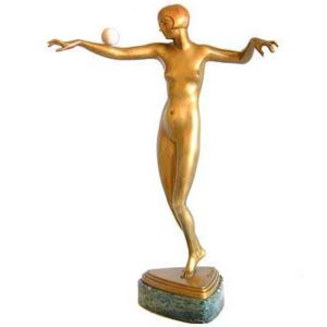 Art Deco bronze and ivory figure by Philippe