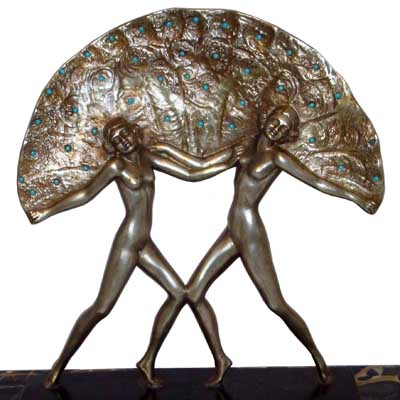 Art Deco bronze and marble fan dancers by Salvatore Melani (gm061)