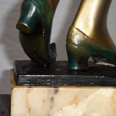Art Deco bronze and marble figure of a dancer by Hans Harders (gm378)
