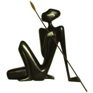 Art Deco bronze and wood figure by Hagenauer