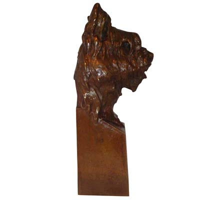 Art Deco bronze bust of a dog by Joanny Durand (gm452)