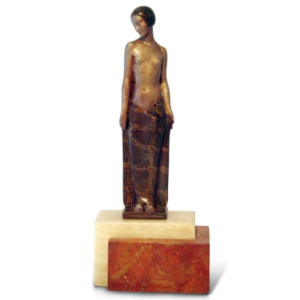 Art Deco bronze figure of a maiden by Pierre le Faguays on marble base (gm452)