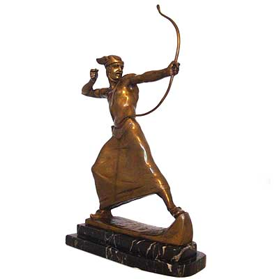 Art Deco bronze figure of a male warrior archer (gm144)