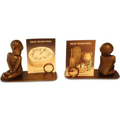 Art Deco bronze menu holder with African baby by Hagenauer (gm636)