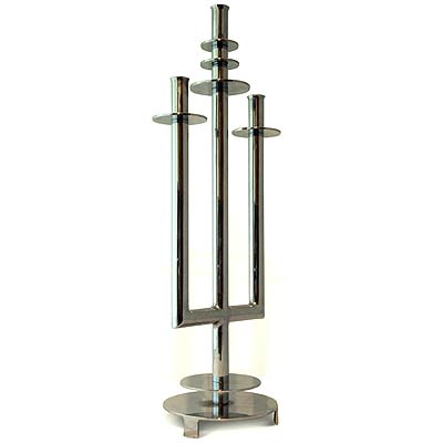 Art Deco chrome plated candelabra attributed to Serge Chermayeff (gm477)l