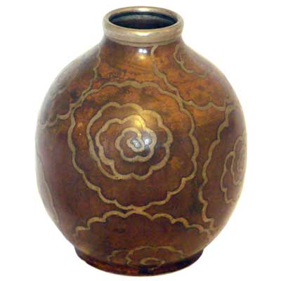 Art Deco dinanderie vase by Paul Mergier for Evolution (gm183)