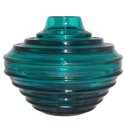 Art Deco heavy walled Daum turquoise glass vase (gm221)