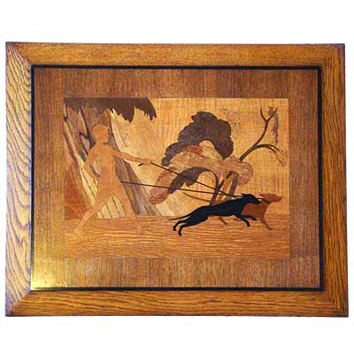 Art Deco marquetry wooden panel of a man walking two dogs by Rowley Gallery, England c1930 (gm164)