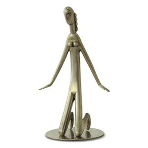 Art Deco nickel plated figure of a kneeling woman by Hagenauer (gm519)
