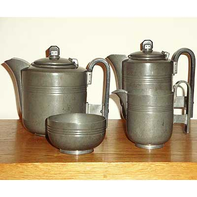 Art Deco pewter tes set by Harold Stabler for Mappin & Webb (m398)