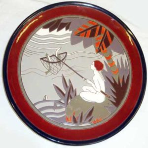 French Art Deco pottery charger by Samara for Montieres (gm018)