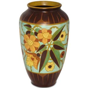 Art Deco pottery vase attributed to Charles Catteau for Boch Freres (gm558)