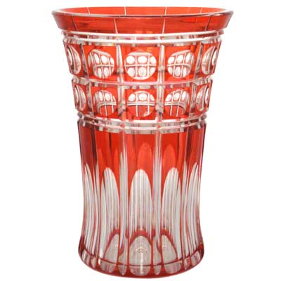 Art Deco red over crystal heavy cut glass vase by Val St Lambert (gm173)