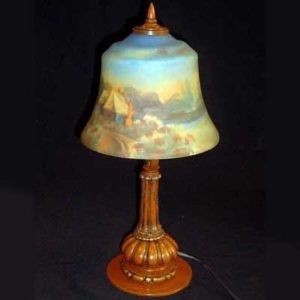 Art Deco reverse painted glass and bronze lamp by Miller (l139)