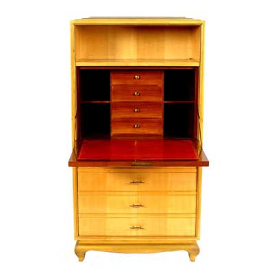Art Deco satinwood drop leaf bureau by Rene Prou (gm169)