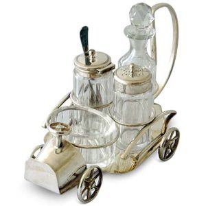Art Deco silver plate and cut glass cruet set in the form of an automobile (gm323)