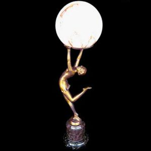 Art Deco spelter lady lamp