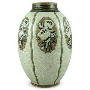 Art Deco stoneware Gres vase by Charles Catteau for Boch Freres (gm924)
