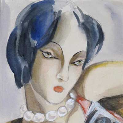 Art Deco watercolour of a woman with a dog by Dodo Burgner (gm167)