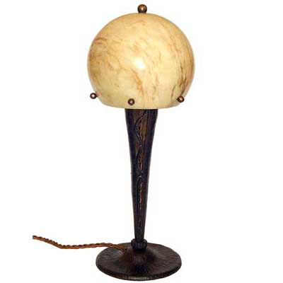 Art Deco wrought iron and alabaster table lamp