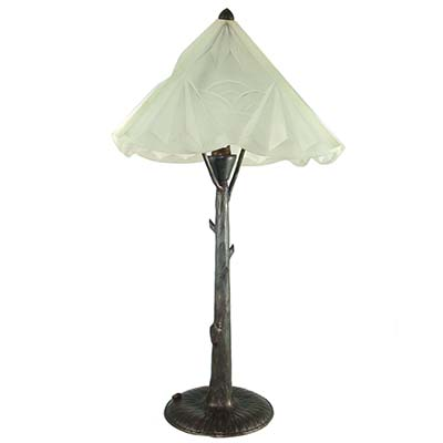 Art Deco wrought iron and moulded glass table lamp by Henri Fournet (gm799)