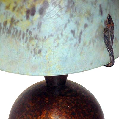 Art Deco wrought iron and Daum glass lamp by Edgar Brandt (gm443)
