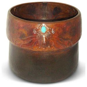 Art Nouveau Darmstadt School copper planter with cabochons (gm428)