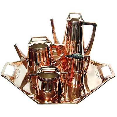 Art Nouveau Darmstadt copper tea set by Peter Behrens