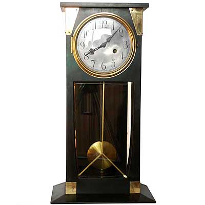 Art Nouveau Secessionist stained mahogany and brass clock