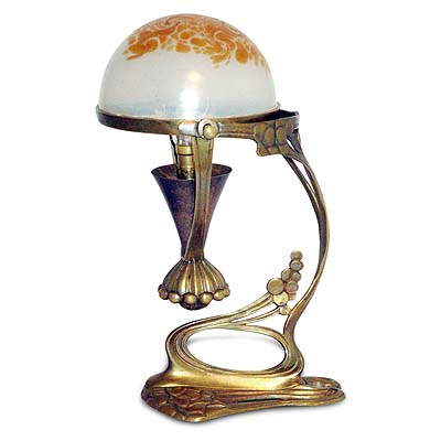 Art Nouveau brass and Palme Konig glass table or wall light (gm407)