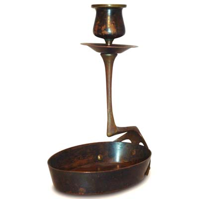 Art Nouveau brass and copper chamberstick in the manner of Richard Riemerschmid (gm159)