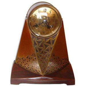 Art Nouveau brass and rosewood clock by Erhard & Sohne