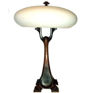 Art Nouveau bronze and opal glass table lamp by Curt Stoeving (L61)
