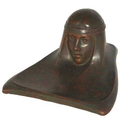 Art Nouveau bronze figural inkwell in the style of Gustave Gurschner (gm250)