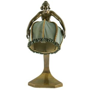 Art Nouveau bronze figural table lamp by Rudolf Marschall (gm861)