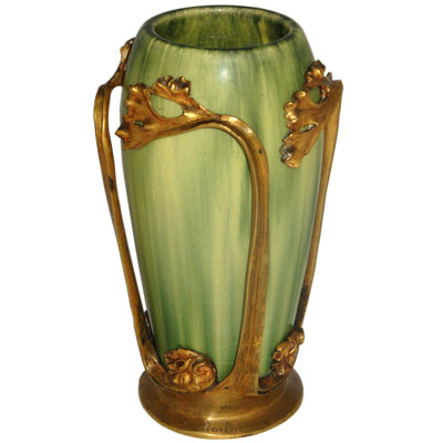 Art Nouveau bronze mounted French pottery vase by J Boilot (xboilot)