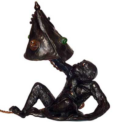 Art Nouveau bronzed pewter monkey table lamp with glass cabochons