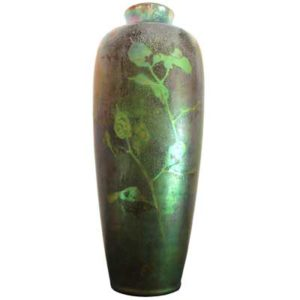 Art Nouveau iridescnet pottery vase by Clement Massier