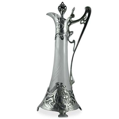 Art Nouveau pewter and etched glass decanter with maiden profile by WMF (gm718)