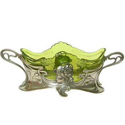 Art Nouveau pewter and glass figural centrepiece by WMF